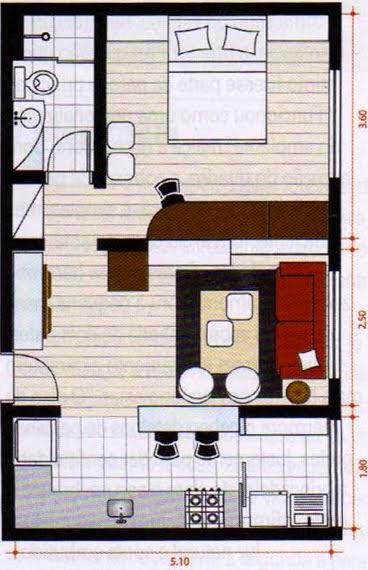 Plano De Vivienda Con Un Solo Dormitorio Planos De Casas