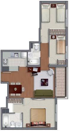 Planos de casas en 60m2 y 61m2 de 3 y 2 dormitorios for Plano casa minimalista 3 dormitorios