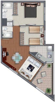 Planos de casas en 60m2 y 61m2 de 3 y 2 dormitorios for Planos de departamentos 3 dormitorios