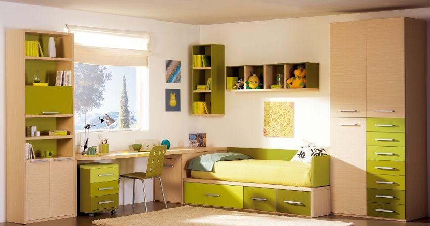 Dormitorio juvenil en madera y verde limon o verde manzana - Dormitorios juveniles madera ...
