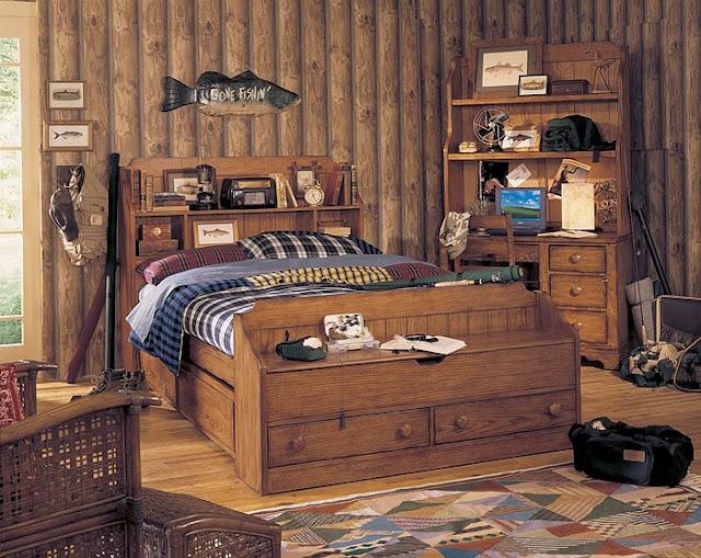 DORMITORIO RUSTICO Y CAMA CON CAJONES by dormitorios.blogspot.com