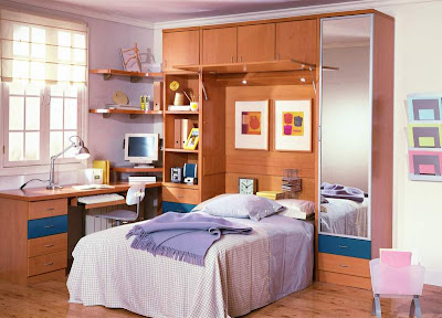 Decoracion dise o funcional dormitorio juvenil con escritorio for Diseno de libreros para espacios pequenos