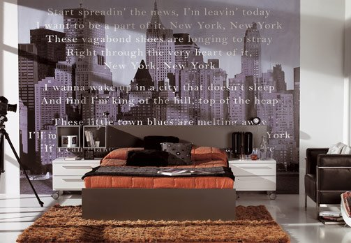 Habitaciones empapeladas y decoracion de dormitorios con for Adhesivos pared dormitorio
