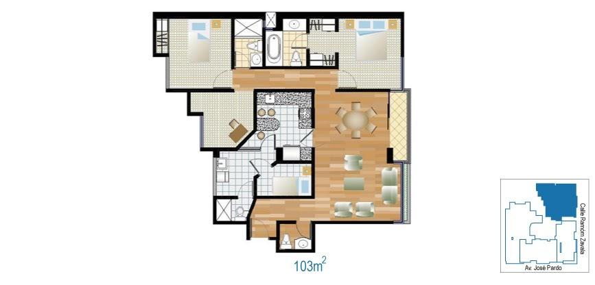 Planos de departamento de 2 dormitorios de 103 m2 planos for Plano departamento 2 dormitorios