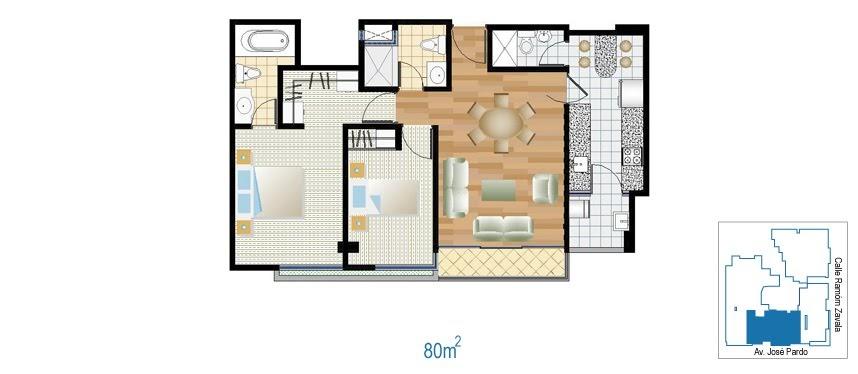 Planos de departamento de 2 dormitorios de 80m2 planos for Planos de departamentos 3 dormitorios