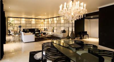 Sala y comedor de lujo en blanco y negro por karim chaman for Marmol traslucido