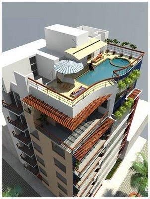 Fachada de edificio de viviendas departamentos frente al for Maquetas de apartamentos modernos