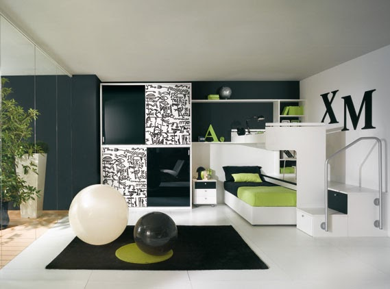 Dormitorios juveniles negro blanco verde pistacho - Diseno dormitorio juvenil ...