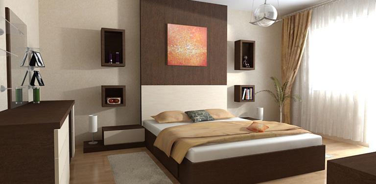 Decoracion diseño: moderno y lindo dormitorio en color marron y crema