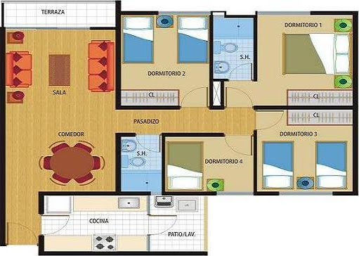 Planos de 81 y 86 m2 departamentos en venta en chorillos for Planos de casas de una planta en 3d