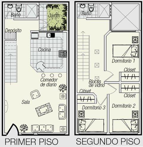 Planos de triplex planos de minidepartamento de 3 pisos en for Distribucion apartamento 50 m2