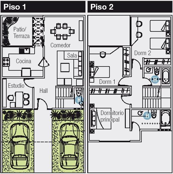 planos de casas 120 m2 2 plantas