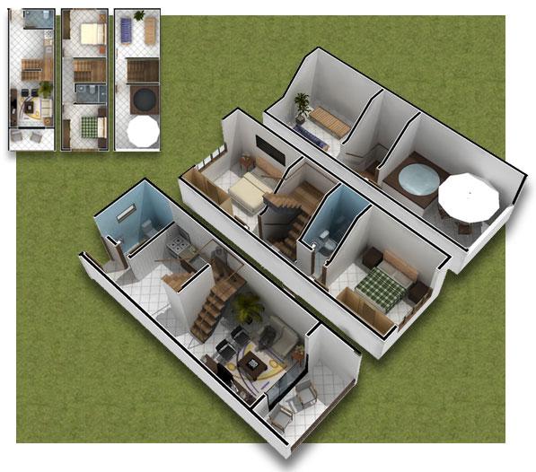 Planos de casa de 3 pisos en 3d casas peque as 35m2 - Decorar bodega chalet ...