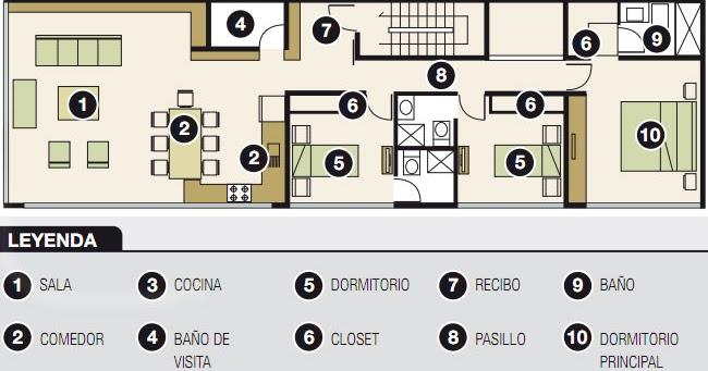 Plano para departamento de 120m2 6m x 20m planos de for Planos de casas 6x20