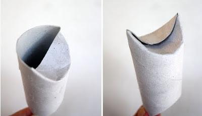 dobla un lado de los extremos del tubo de papel