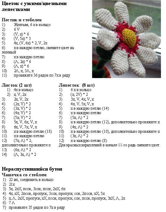 Описание схемы вязания крючком цветы