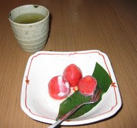 Frozen strawberry dessert at Rakuzen
