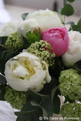 Bunch of peonies and viburnums