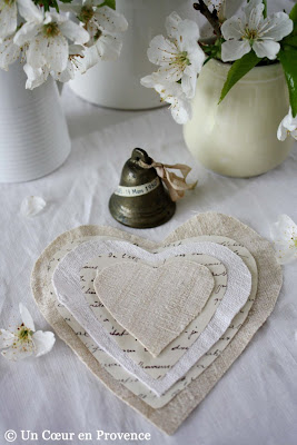 Heart made with paper and fabric