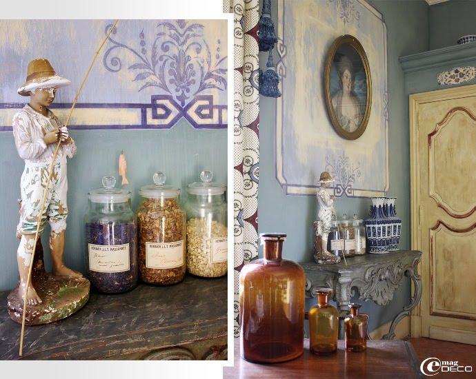 Détails de la Chambre Bleue, Château de Christin à Junas