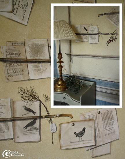 Détails de la Chambre aux Oiseaux au château de Christin