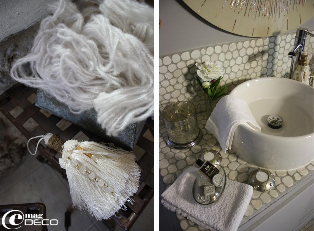 Pompon Marrakech et vasque céramique