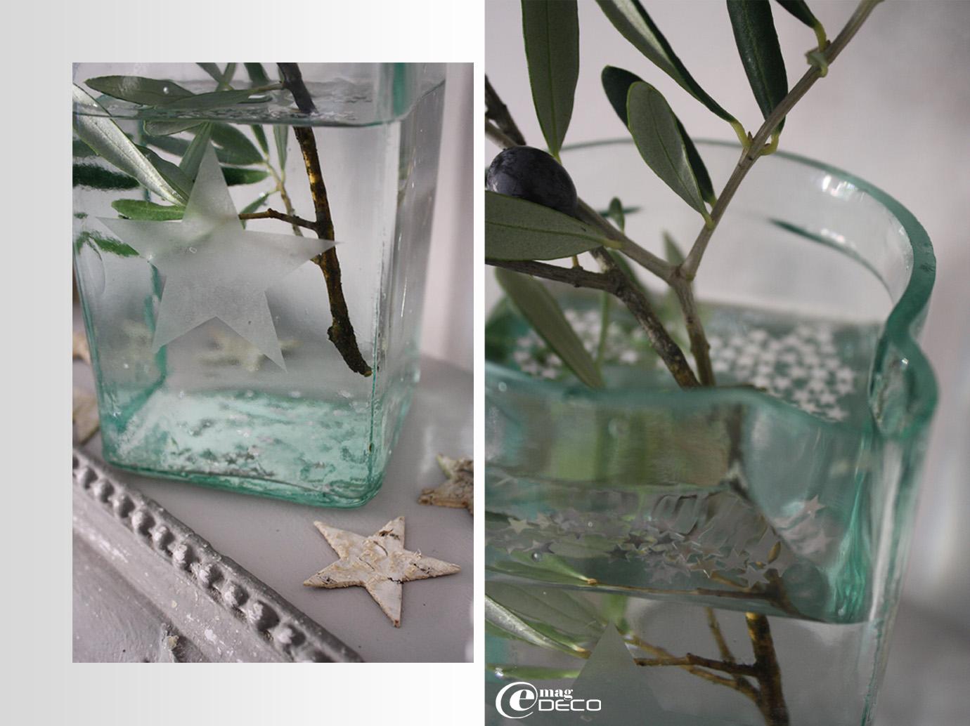 Bocal ancien en verre gravé d'une étoile, création bord de scène