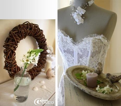 Couronne de sarments et robe de mariée