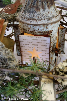 Old mottled lantern, with print paper