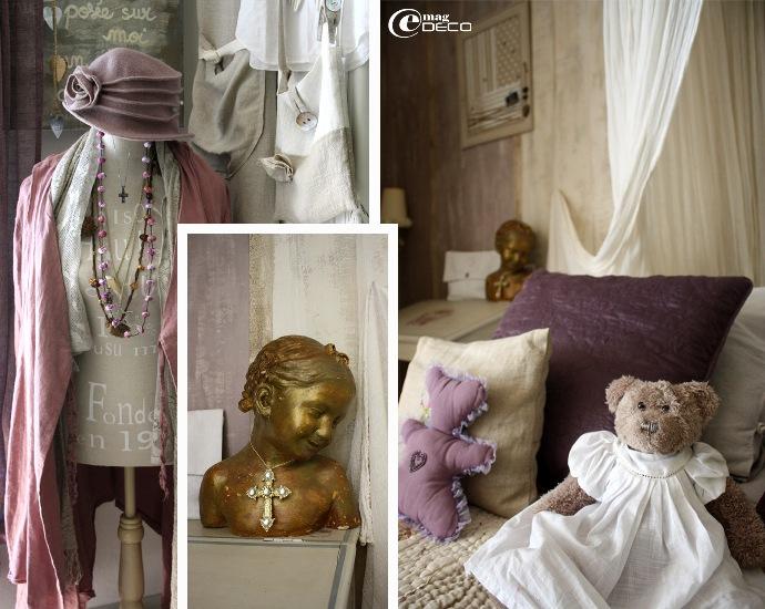 Mannequin, buste, oursons, dans une chambre patinée de chaux colorée, en Provence