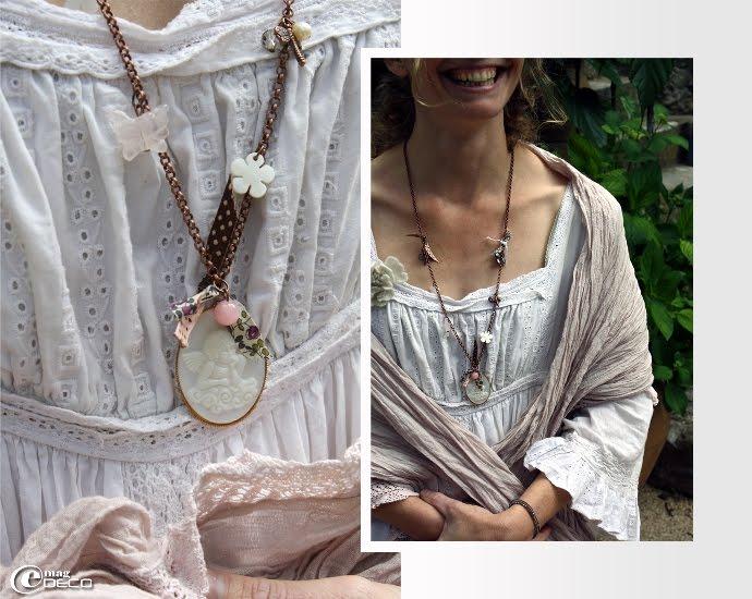 Robe broderie anglaise chez Atelier des Ours à Uzès et sautoir avec médaillon angelot, création Sibylle Marçais