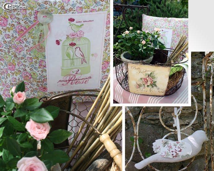 Coussin fleuri Mademoiselle Rose, création Oscar & Lila et panier en fil de fer Antic Line