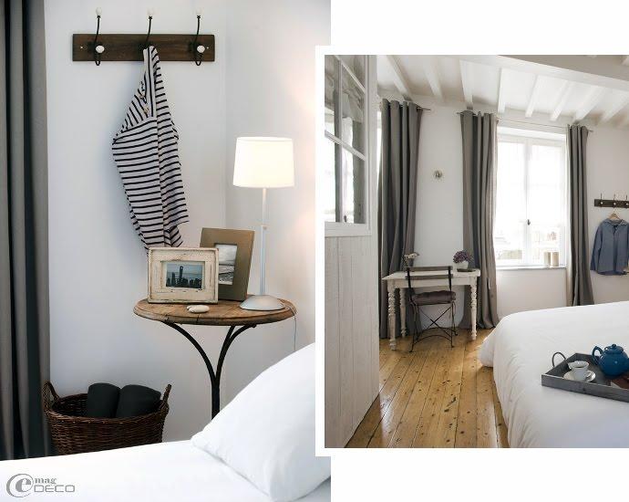 Chambre de gîte marin en camaïeu de blanc et de gris