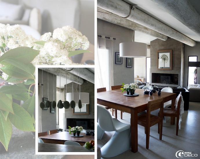 La grande pièce à vivre des propriétaires du Mas de Cink équipée de mobilier design