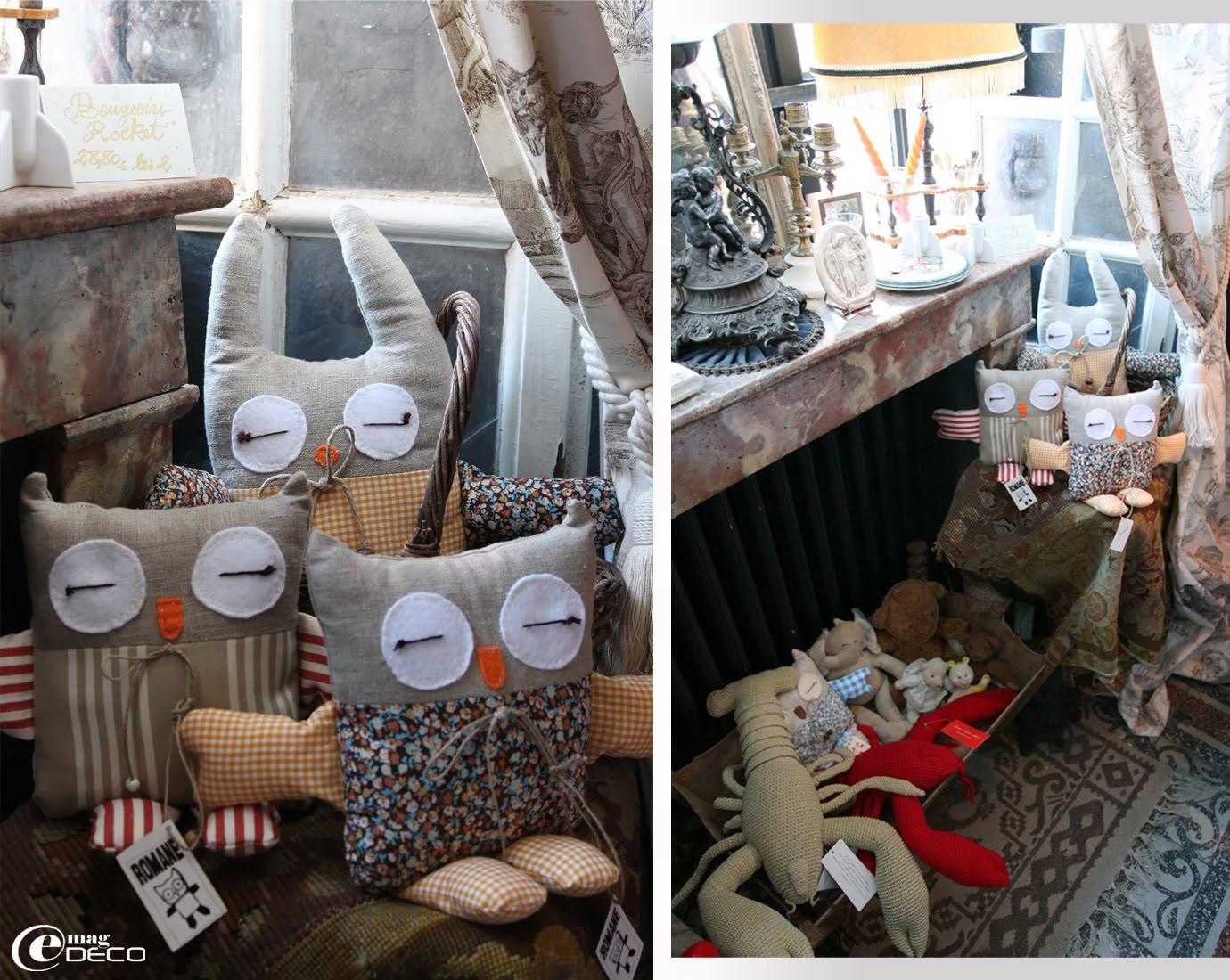 Des chouettes en tissu, créations Romane et des homards au crochet, créations Anne-Claire Petit