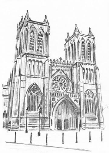 Pencil drawings of buildings