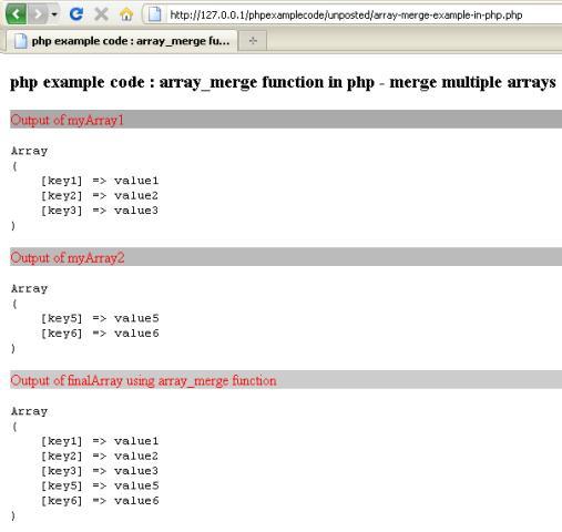 php merge arrays