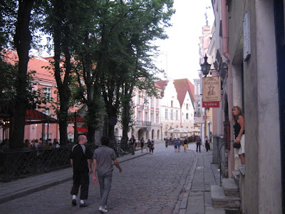 cobblestone street in old town Tallinn Estonia