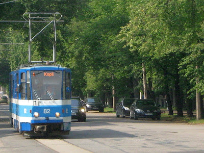 moving blue tram in Tallinn Estonia