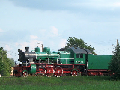 green steam train in Haapsalu Estonia