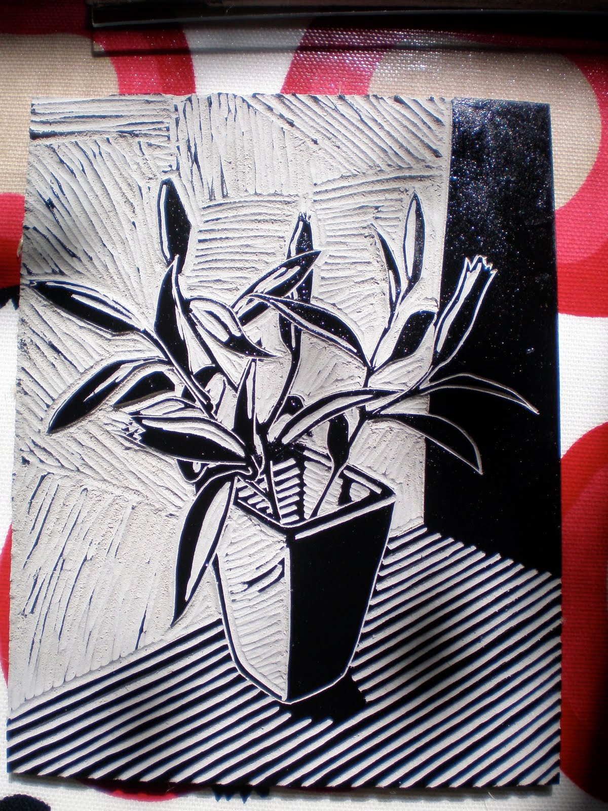 james green printworks: flowers linocut - process