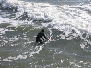 Launching off on the surfboard