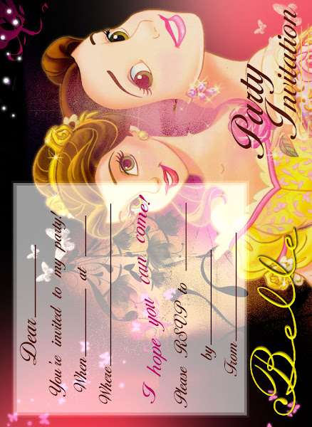 Princess Belle Party Invitations Printable Free