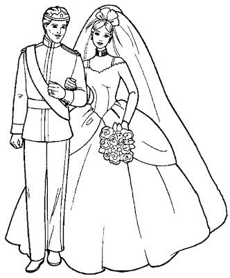 Barbie Coloring Sheets On Wedding Gown Pages