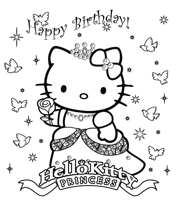 cute hello kitty colouring pages. Hello Kitty coloring page
