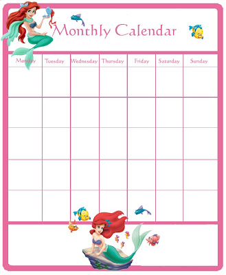 free disney princess printable calendars