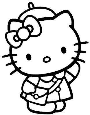 Hello Kitty is going back to school on this coloring page for you to print