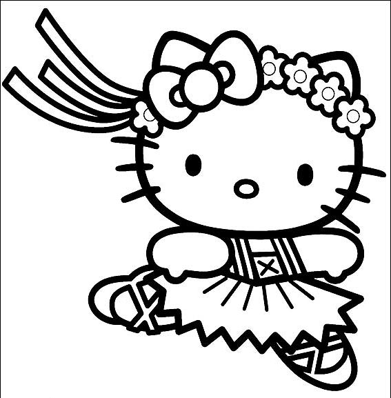 hello kitty ballerina coloring page - Coloring Pages Kitty Nerd
