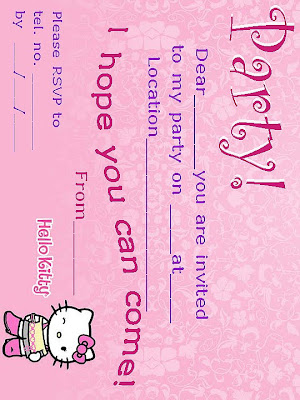 For more free, printable hello kitty. party invitations - click