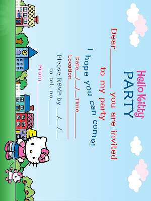 Above are two, free, Hello Kitty printable birthday party invites that are